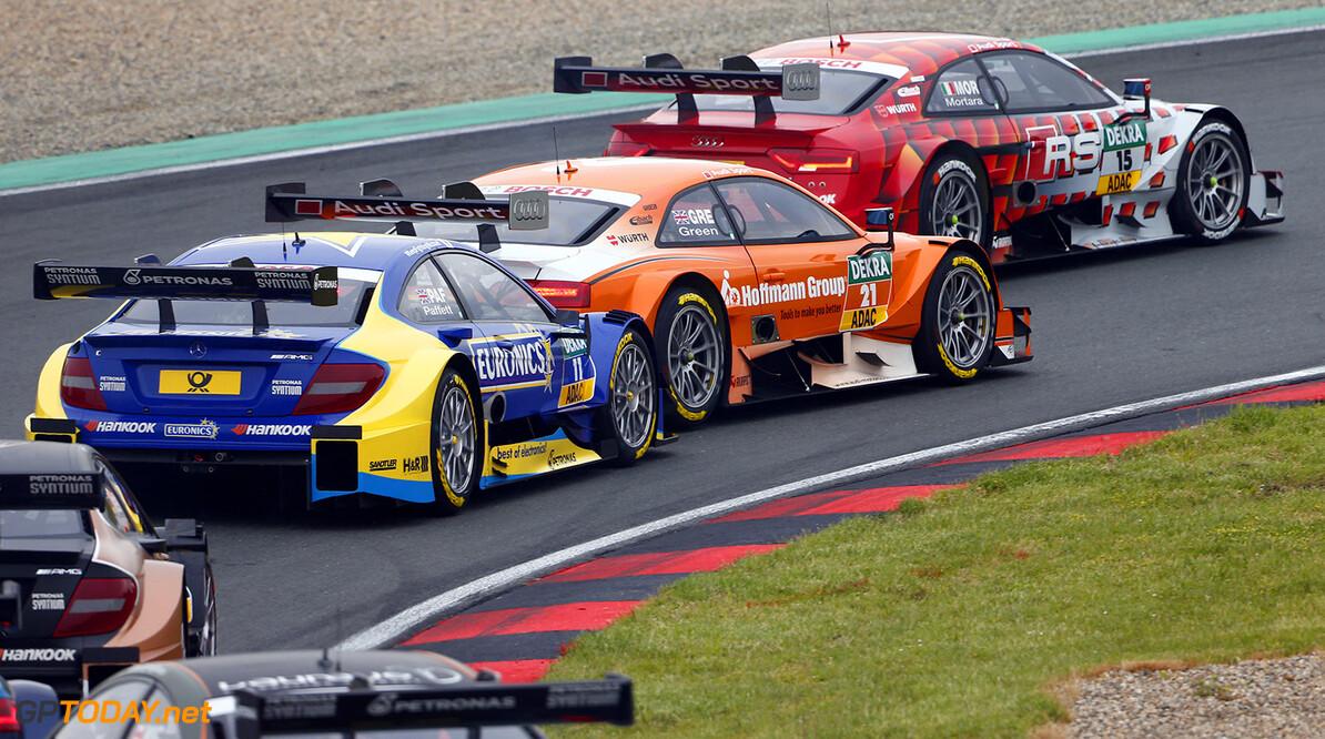 www.hoch-zwei.net Motorsports / DTM 2. race Oschersleben,   #15 Edoardo Mortara (ITA, Audi Sport Team Abt, Audi RS 5 DTM),  #21 Jamie Green (GBR, Audi Sport Team Rosberg, Audi RS 5 DTM),  #11 Gary Paffett (GBR, HWA, DTM Mercedes AMG C-Coupe),  Motorsports / DTM 2. race Oschersleben HOCH ZWEI Hockenheim Germany  Partner01 Partner03 Fahrszene - race action    Rennen - race    Aktion - action    Rennszene fahrend Fahrbild faehrt Aktionsfoto Aktionsbild