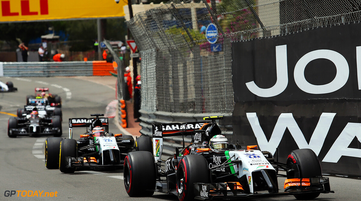 Formula One World Championship Sergio Perez (MEX) Sahara Force India F1 VJM07 leads team mate Nico Hulkenberg (GER) Sahara Force India F1 VJM07 at the start of the race.