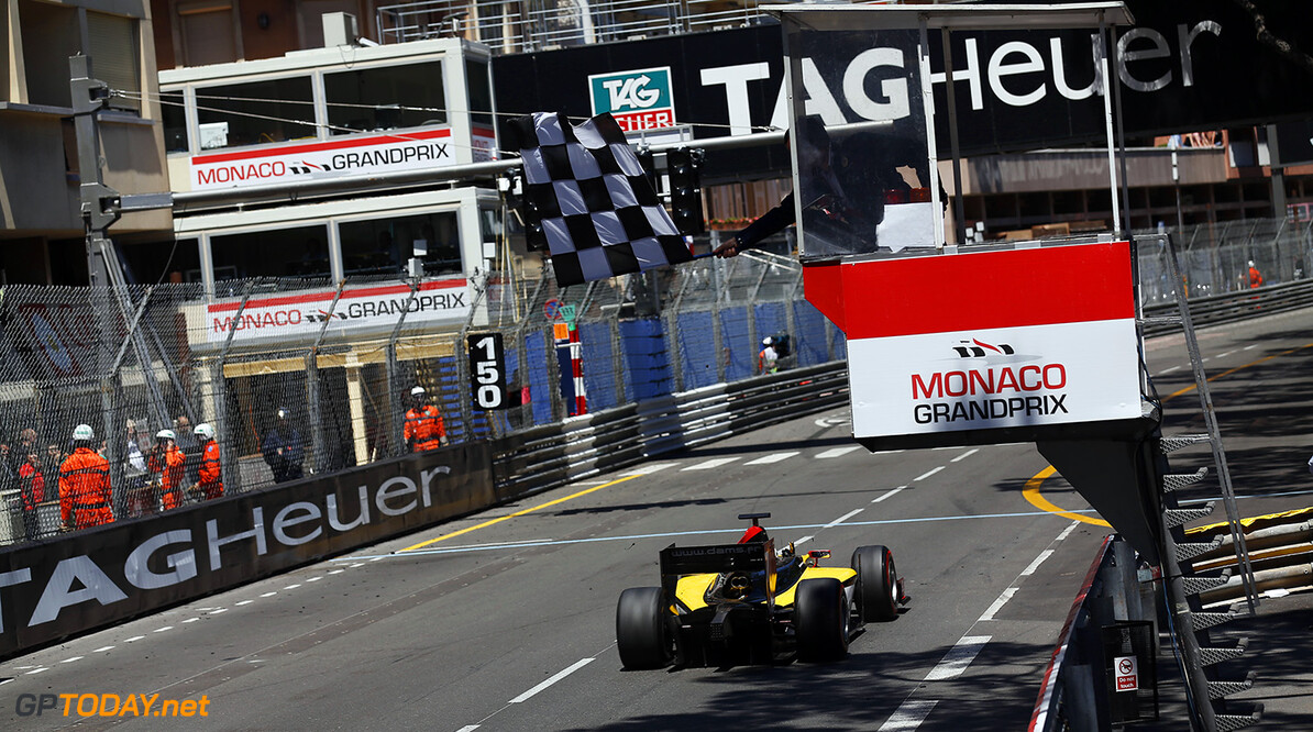 2014 GP2 Series Round 3 - Race 1 Monte Carlo, Monaco. Friday 23 May 2014. Jolyon Palmer (GBR, DAMS), takes the chequered flag Photo: Sam Bloxham/GP2 Series Media Service. ref: Digital Image _SBL3161   Sam Bloxham    Race One