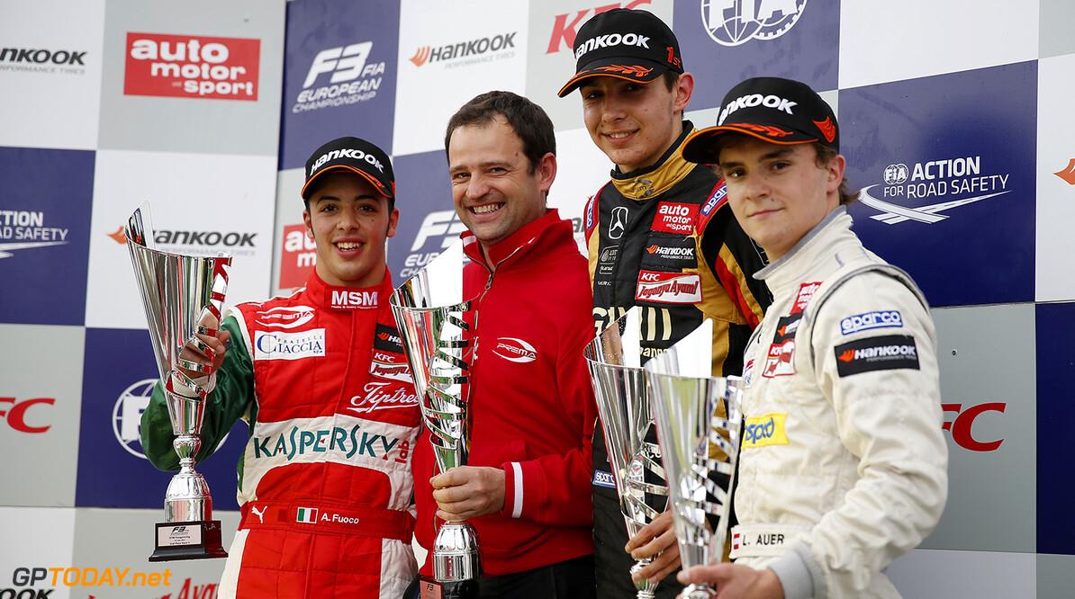 FIA Formula 3 European Championship, round 4, race 3, Hungarorin Prize giving ceremony, 25 Antonio Fuoco (ITA, Prema Powerteam, Dallara F312 - Mercedes), 2 Esteban Ocon (FRA, Prema Powerteam, Dallara F312 - Mercedes), 3 Lucas Auer (AUT, kfzteile24 Mucke Motorsport, Dallara F312 - Mercedes), FIA Formula 3 European Championship, round 4, race 3, Hungaroring (HUN) - 30. May - 1. June 2014 FIA Formula 3 European Championship, round 4, race 3, Hungaroring (HUN) Thomas Suer Budapest Hungary