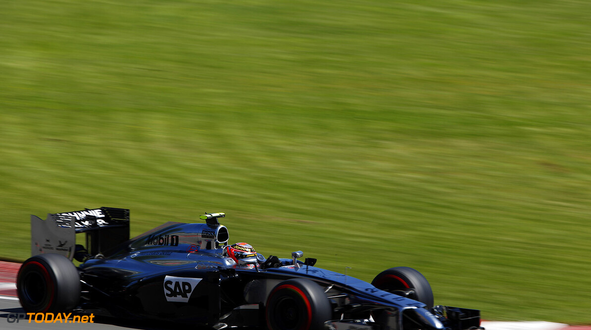 Kevin Magnussen on track.