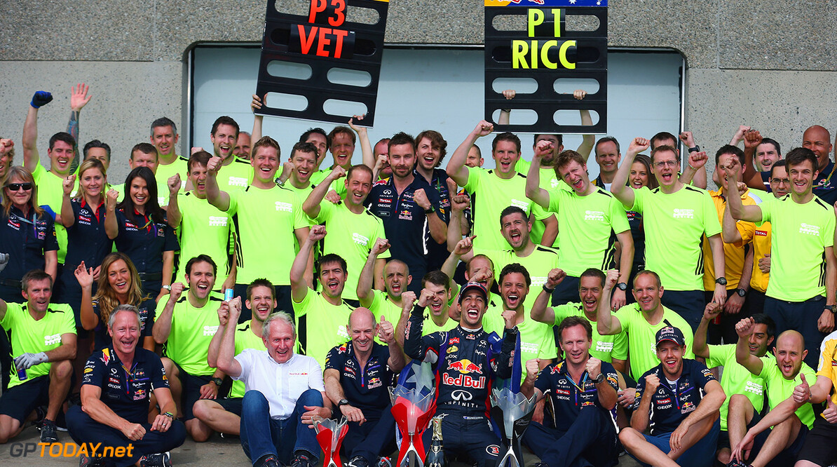 MONTREAL, QC - JUNE 08:  The Infiniti Red Bull Racing team celebrate the maiden race win for Daniel Ricciardo of Australia and Infiniti Red Bull Racing and third place for Sebastian Vettel of Germany and Infiniti Red Bull Racing the Canadian Formula One Grand Prix at Circuit Gilles Villeneuve on June 8, 2014 in Montreal, Canada.  (Photo by Tom Pennington/Getty Images) *** Local Caption *** Daniel Ricciardo;Sebastian Vettel Canadian F1 Grand Prix Tom Pennington Montreal Canada  Formula One Racing formula 1 Auto Racing Formula One Grand Prix Canadian F1 Grand Prix Canadian Formula One Grand Prix