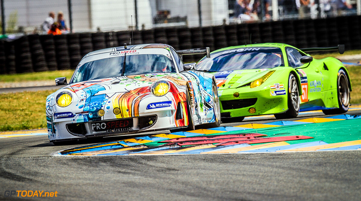 JR7_4789.CR2 Francois Perrodo (FRA) / Emmanuel Collard (FRA) / Markus Palttala (FIN) driving the #75 LMGTE AM (WEC) Prospeed Competition (BEL) Porsche 911 GT3 RSR and Tracy Krohn (USA) / Niclas Jonsson (SWE) / Ben Collins (GBR) driving the #57 LMGTE AM Krohn Racing (USA) Ferrari F458 Italia / 24 Heures du Mans / Circuit De La Sarthe / France Francois Perrodo (FRA) / Emmanuel Collard (FRA) / Markus Palttala (FIN) driving the #75 LMGTE AM (WEC) Prospeed Competition (BEL) Porsche 911 GT3 RSR and Tracy Krohn (USA) / Niclas Jonsson (SWE) / Ben Collins (GBR) driving the #57 LMGTE AM Krohn Racing (U John Rourke Le Mans France  24 24HR ACO ELMS FIA WEC adrenal media le mans