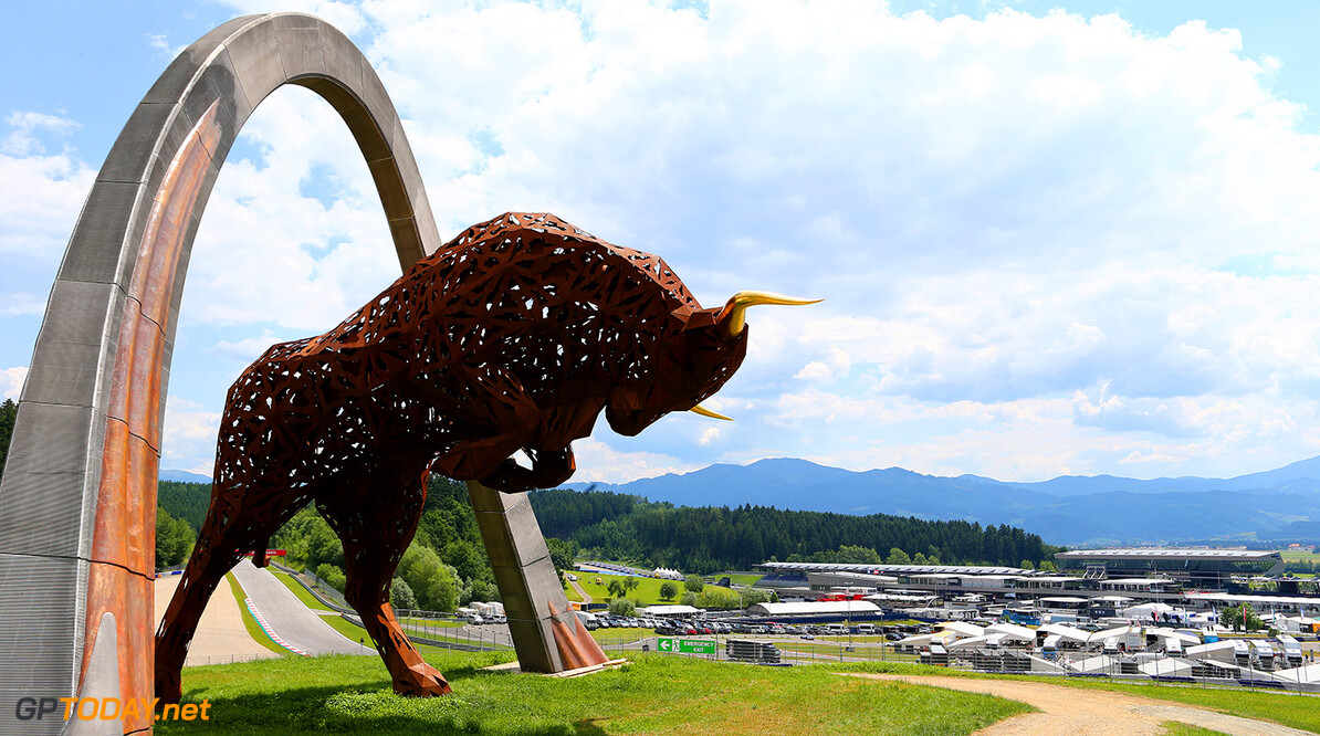 SPIELBERG, AUSTRIA - JUNE 19:  A general view of the Red Bull sculpture at the track ahead of the Austrian Formula One Grand Prix at Red Bull Ring on June 19, 2014 in Spielberg, Austria.  (Photo by Mathias Kniepeiss/Getty Images) F1 Grand Prix of Austria - Previews Mathias Kniepeiss Spielberg Austria  Formula One Racing formula 1 Auto Racing Formula One Grand Prix Austrian A1 Ring