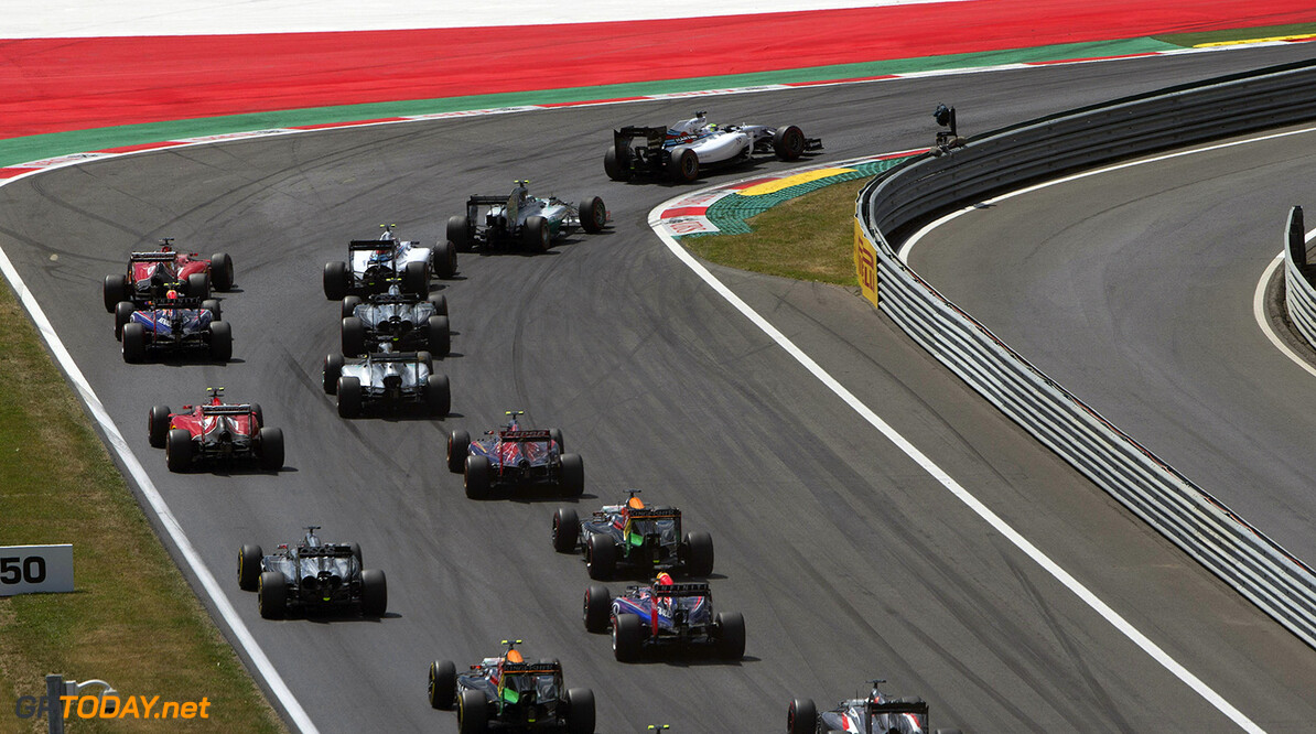 _84R3151.jpg Red Bull Ring, Spielberg, Austria. Sunday 22 June 2014. Felipe Massa, Williams FW36 Mercedes, leads Nico Rosberg, Mercedes F1 W05 Hybrid, Valterri Bottas, Williams FW36 Mercedes, and the rest of the field in to the first corner. World Copyright: Glenn Dunbar/LAT Photographic. ref: Digital Image _84R3151 -------------------- Glenn Dunbar / Williams 2014 FIA Formula One World Championship Austrian Grand Prix 22 June 2014 (C)2014 Glenn Dunbar / Williams all rights reserved Red Bull Ring, Spielberg, Austria. Sunday 22 June 2014. Felipe Massa, Williams FW36 Mercedes, leads Nico Rosberg, Mercedes F1 W05 Hybrid, Valterri Bottas, Williams FW36 Mercedes, and the rest of the field in to the first corner. World Copyright: Glenn Dun Glenn Dunbar    action start f1 formula 1 formula one gp aut
