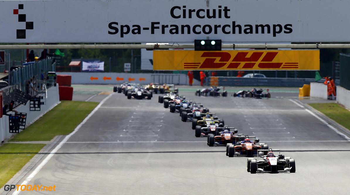 FIA Formula 3 European Championship, round 5, race 1, Spa-Franco 30 Max Verstappen (NLD, Van Amersfoort Racing, Dallara F312 - Volkswagen), 3 Lucas Auer (AUT, kfzteile24 Mucke Motorsport, Dallara F312 - Mercedes), 27 Felix Rosenqvist (SWE, kfzteile24 Mucke Motorsport, Dallara F312 - Mercedes), FIA Formula 3 European Championship, round 5, race 1, Spa-Francorchamps (BEL) - 20. - 22. June 2014 FIA Formula 3 European Championship, round 5, race 1, Spa-Francorchamps (BEL) Thomas Suer Spa-Francorchamps Belgium