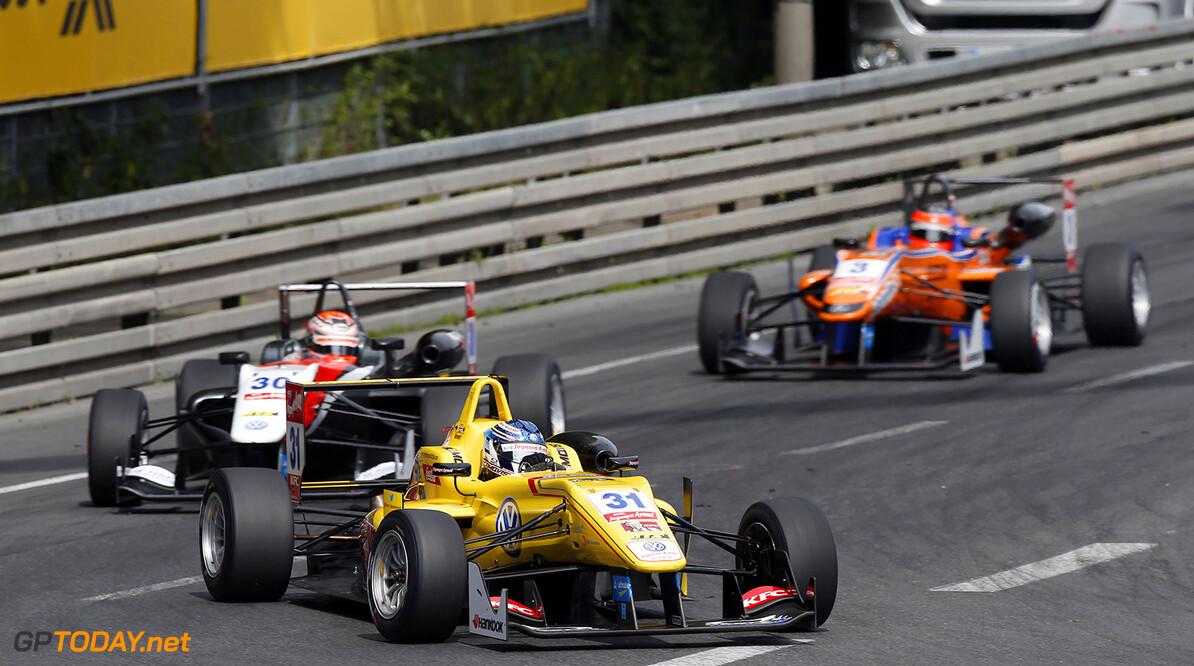 FIA Formula 3 European Championship, round 6, race 1, Norisring 31 Tom Blomqvist (GBR, Jagonya Ayam with Carlin, Dallara F312 - Volkswagen), 30 Max Verstappen (NLD, Van Amersfoort Racing, Dallara F312 - Volkswagen), 3 Lucas Auer (AUT, kfzteile24 Mucke Motorsport, Dallara F312 - Mercedes), FIA Formula 3 European Championship, round 6, race 1, Norisring (GER) - 27. - 29. June 2014 FIA Formula 3 European Championship, round 6, race 1, Norisring (GER) Thomas Suer Nuremberg Germany
