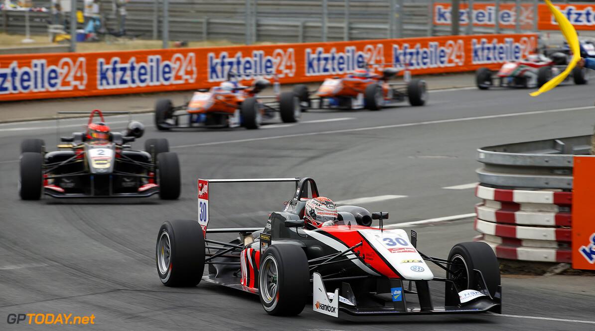 FIA Formula 3 European Championship, round 6, race 1, Norisring 30 Max Verstappen (NLD, Van Amersfoort Racing, Dallara F312 - Volkswagen), 2 Esteban Ocon (FRA, Prema Powerteam, Dallara F312 - Mercedes), FIA Formula 3 European Championship, round 6, race 1, Norisring (GER) - 27. - 29. June 2014 FIA Formula 3 European Championship, round 6, race 1, Norisring (GER) Thomas Suer Nuremberg Germany