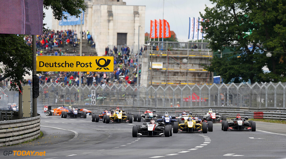 FIA Formula 3 European Championship, round 6, race 3, Norisring Start of the race, 30 Max Verstappen (NLD, Van Amersfoort Racing, Dallara F312 - Volkswagen taking the lead from 31 Tom Blomqvist (GBR, Jagonya Ayam with Carlin, Dallara F312 - Volkswagen), 2 Esteban Ocon (FRA, Prema Powerteam, Dallara F312 - Mercedes), FIA Formula 3 European Championship, round 6, race 3, Norisring (GER) - 27. - 29. June 2014 FIA Formula 3 European Championship, round 6, race 3, Norisring (GER) Thomas Suer Nuremberg Germany