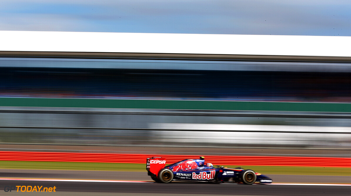 NORTHAMPTON, ENGLAND - JULY 04:  Daniil Kvyat of Russia and Scuderia Toro Rosso drives during practice ahead of the British Formula One Grand Prix at Silverstone Circuit on July 4, 2014 in Northampton, United Kingdom.  (Photo by Mark Thompson/Getty Images) *** Local Caption *** Daniil Kvyat F1 Grand Prix of Great Britain - Practice Mark Thompson Northampton United Kingdom  Formula One Racing formula 1 Auto Racing Formula One Grand Prix Silverstone Circuit British GP British Formula One Grand Prix