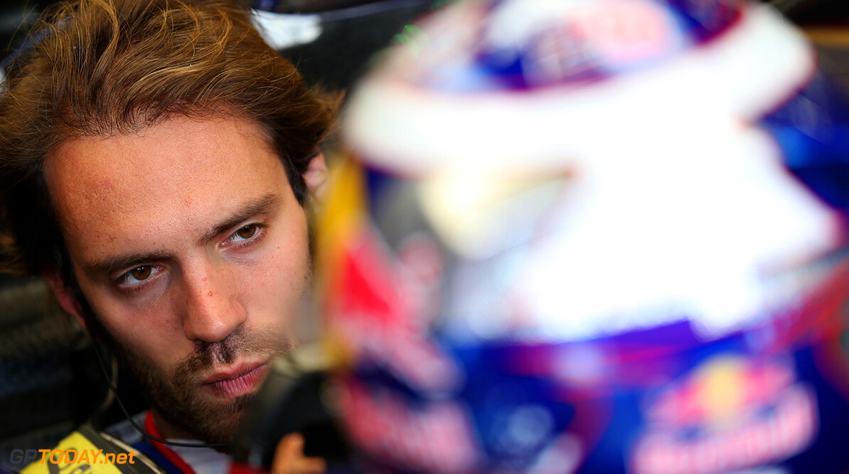 NORTHAMPTON, ENGLAND - JULY 08:  Jean-Eric Vergne of France and Scuderia Toro Rosso sits in his car in the garage during day one of testing at Silverstone Circuit on July 8, 2014 in Northampton, England.  (Photo by Mark Thompson/Getty Images) *** Local Caption *** Jean-Eric Vergne F1 Testing At Silverstone - Day One Mark Thompson Northampton United Kingdom  Formula One Racing formula 1 Auto Racing Formula One Grand Prix Silverstone Circuit British GP British Formula One Grand Prix
