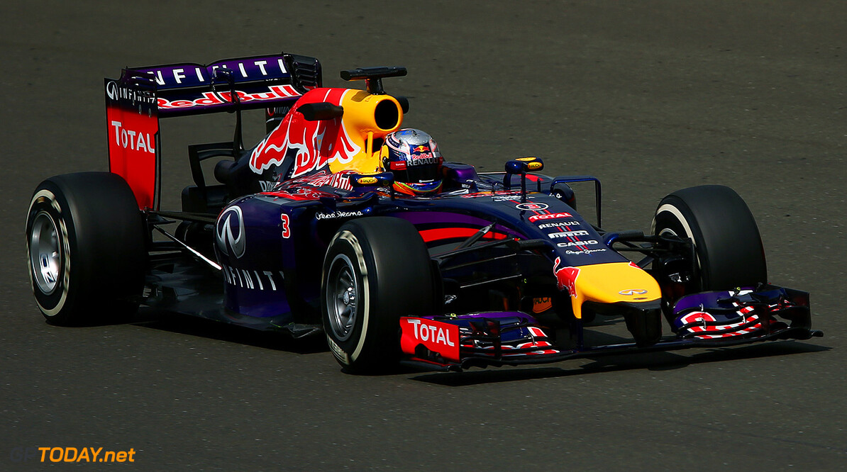 NORTHAMPTON, ENGLAND - JULY 08:  Daniel Ricciardo of Australia and Infiniti Red Bull Racing drives during day one of testing at Silverstone Circuit on July 8, 2014 in Northampton, England.  (Photo by Dan Istitene/Getty Images) *** Local Caption *** Daniel Ricciardo F1 Testing At Silverstone - Day One Dan Istitene Northampton United Kingdom  Formula One Racing formula 1 Auto Racing Formula One Grand Prix Silverstone Circuit British GP British Formula One Grand Prix