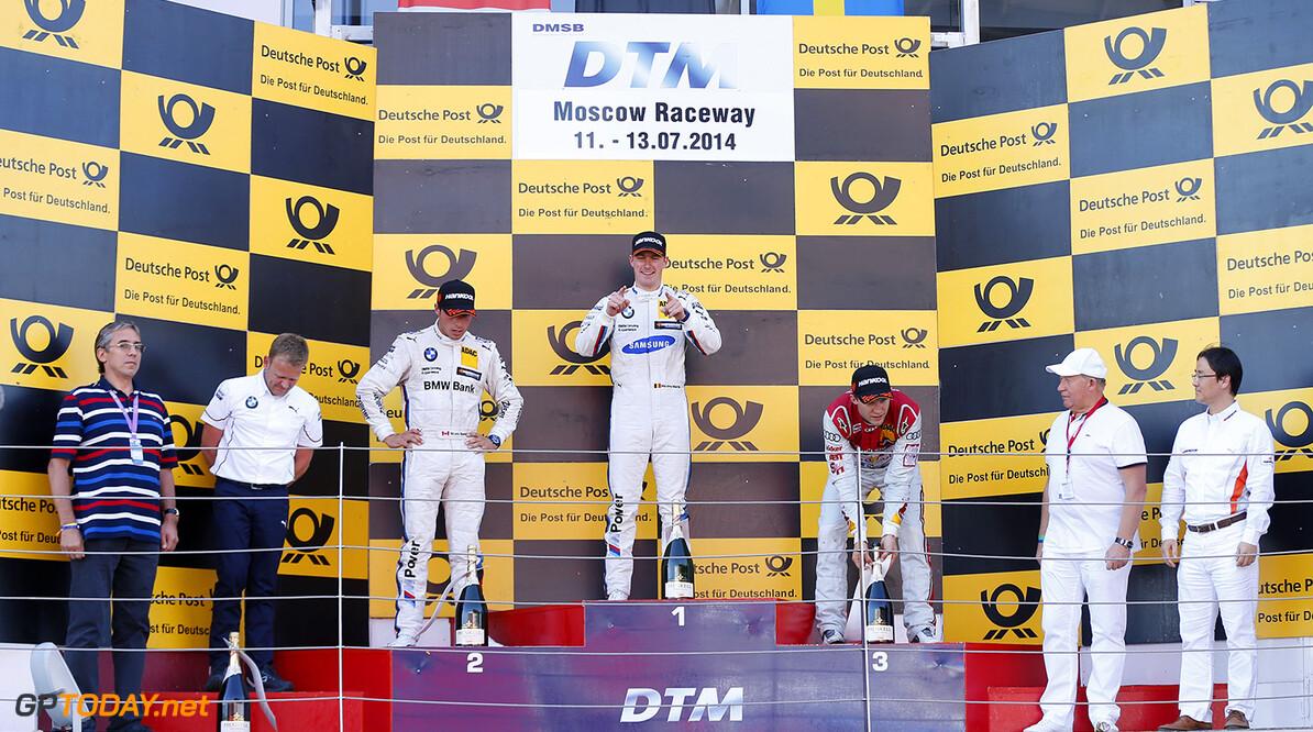 #9 Bruno Spengler (CDN, BMW Team Schnitzer, BMW M4 DTM), #24 Maxime Martin (B, BMW Team RMG, BMW M4 DTM), #7 Mattias Ekstrom (S, Audi Sport Team Abt Sportsline, Audi RS 5 DTM)