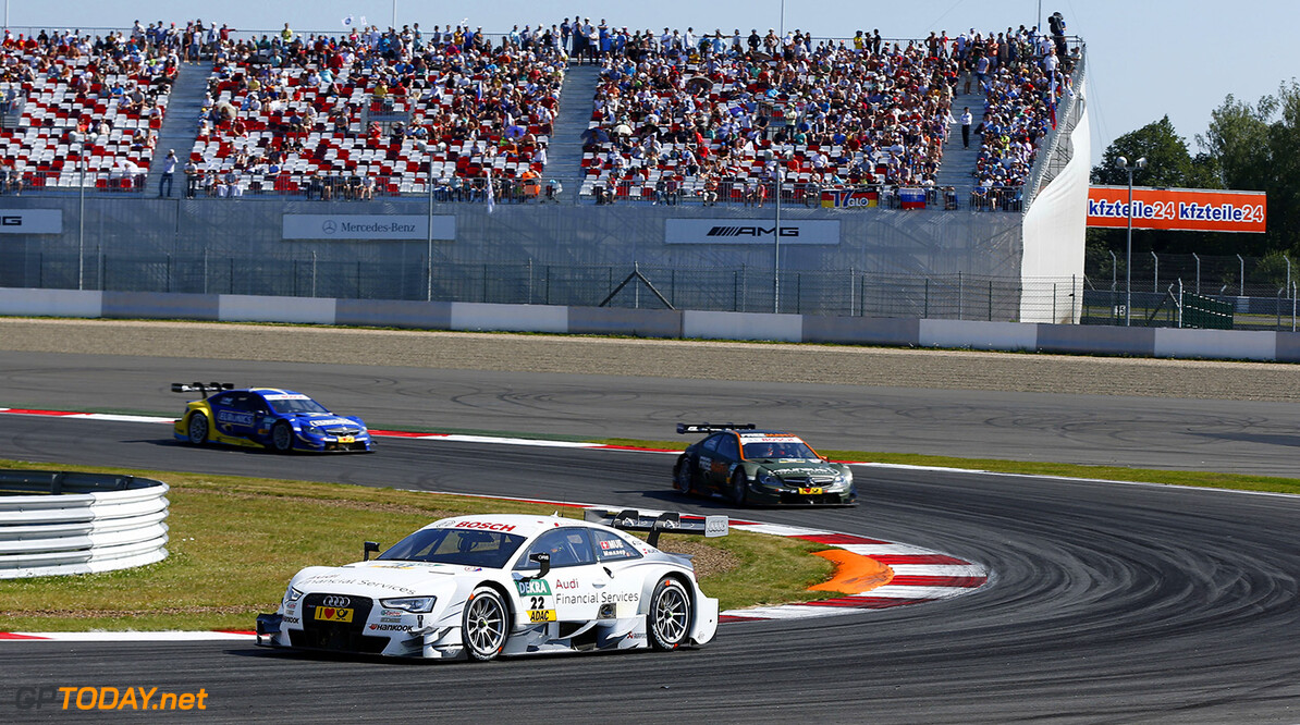 #22 Nico Muller (CH, Audi Sport Team Rosberg, Audi RS 5 DTM), #12 Robert Wickens (CDN, FREE MAN?S WORLD Mercedes AMG, DTM Mercedes AMG C-Coupe), #11 Gary Paffett (GB, EURONICS Mercedes AMG, DTM Mercedes AMG C-Coupe)