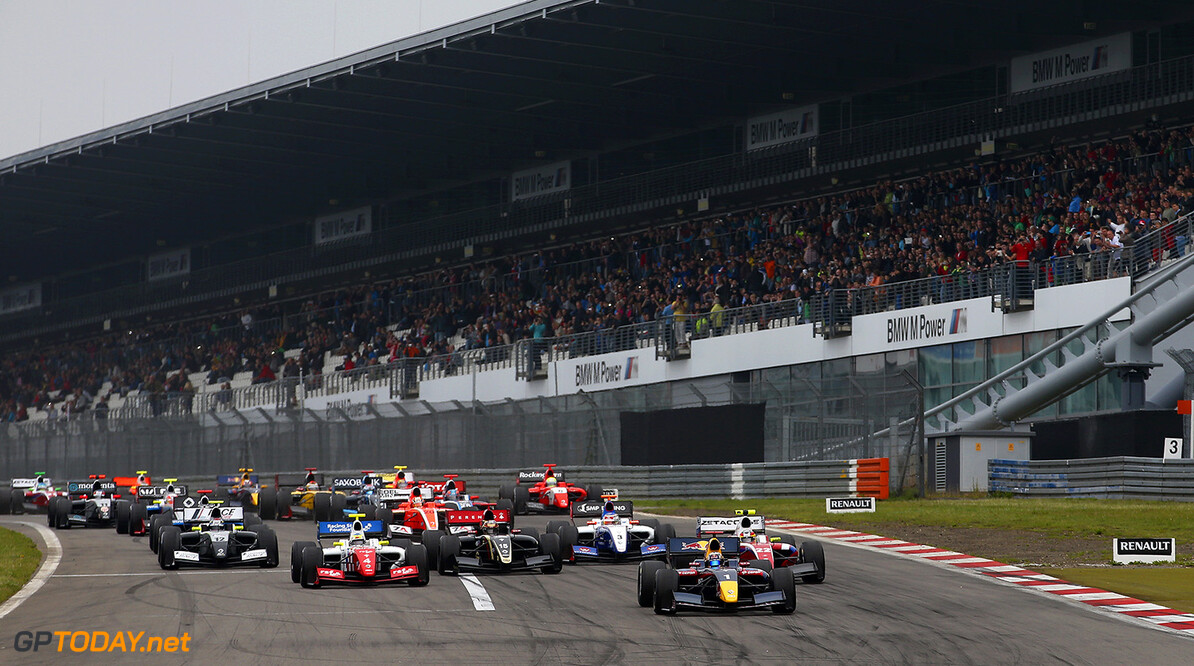 Formula Renault 3.5 start during the 2014 World Series by Renault, on from July 11th to 13th 2014, at Nurburgring, Germany. Photo Jean Michel Le Meur / DPPI AUTO - WSR NURBURGRING 2014 JEAN MICHEL LE MEUR Nurburg Germany  Auto Car CHAMPIONNAT ESPAGNE Europe FORMULES Motorsport RENAULT SPORT series Sport VOITURES WORLD WSR 2014 FORMULA RENAULT FR FR 3.5 MONOPLACE Race ALLEMAGNE UNIPLACE WORLD SERIES BY RENAULT