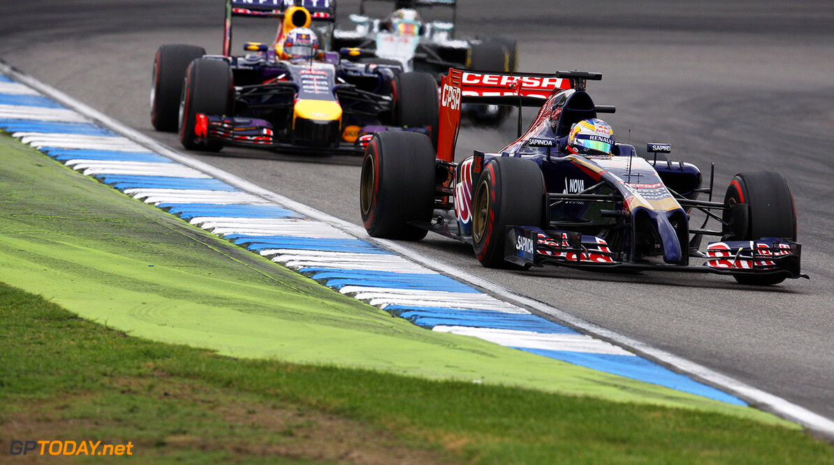 HOCKENHEIM, GERMANY - JULY 20:  Jean-Eric Vergne of France and Scuderia Toro Rosso drives during the German Grand Prix at Hockenheimring on July 20, 2014 in Hockenheim, Germany.  (Photo by Drew Gibson/Getty Images) *** Local Caption *** Jean-Eric Vergne F1 Grand Prix of Germany Drew Gibson Hockenheim Germany  Formula One Racing formula 1 Auto Racing Formula One Grand Prix german grand prix German Formula One Grand Prix
