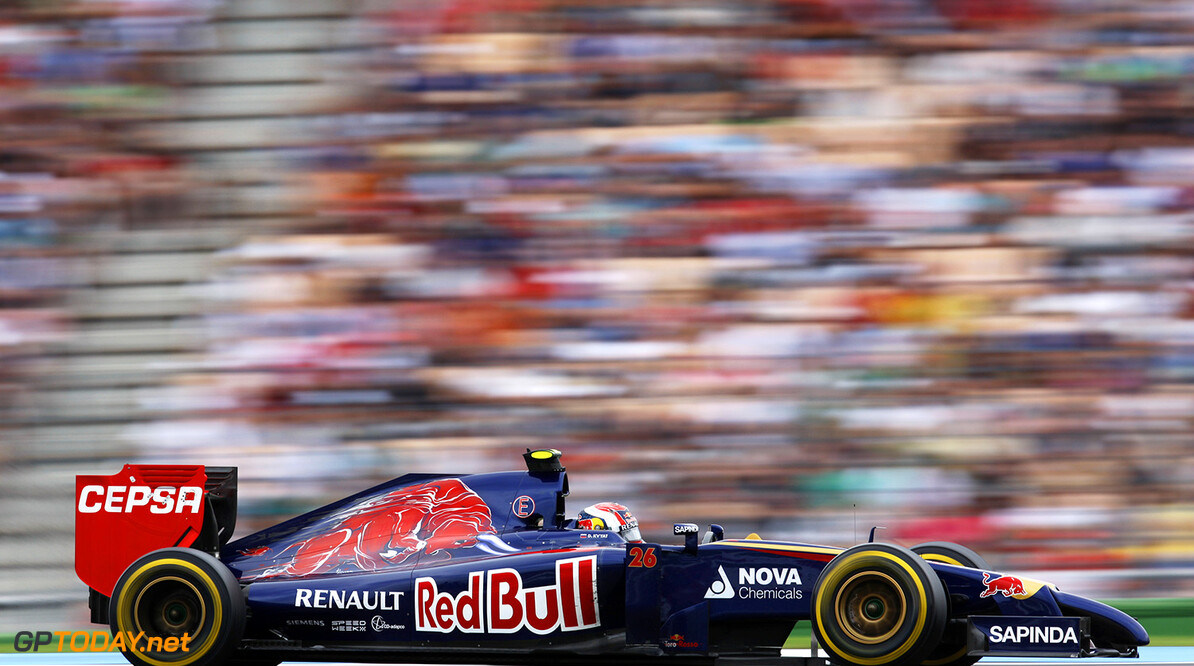 HOCKENHEIM, GERMANY - JULY 20:  Daniil Kvyat of Russia and Scuderia Toro Rosso drives during the German Grand Prix at Hockenheimring on July 20, 2014 in Hockenheim, Germany.  (Photo by Drew Gibson/Getty Images) *** Local Caption *** Daniil Kvyat F1 Grand Prix of Germany Drew Gibson Hockenheim Germany  Formula One Racing formula 1 Auto Racing Formula One Grand Prix german grand prix German Formula One Grand Prix