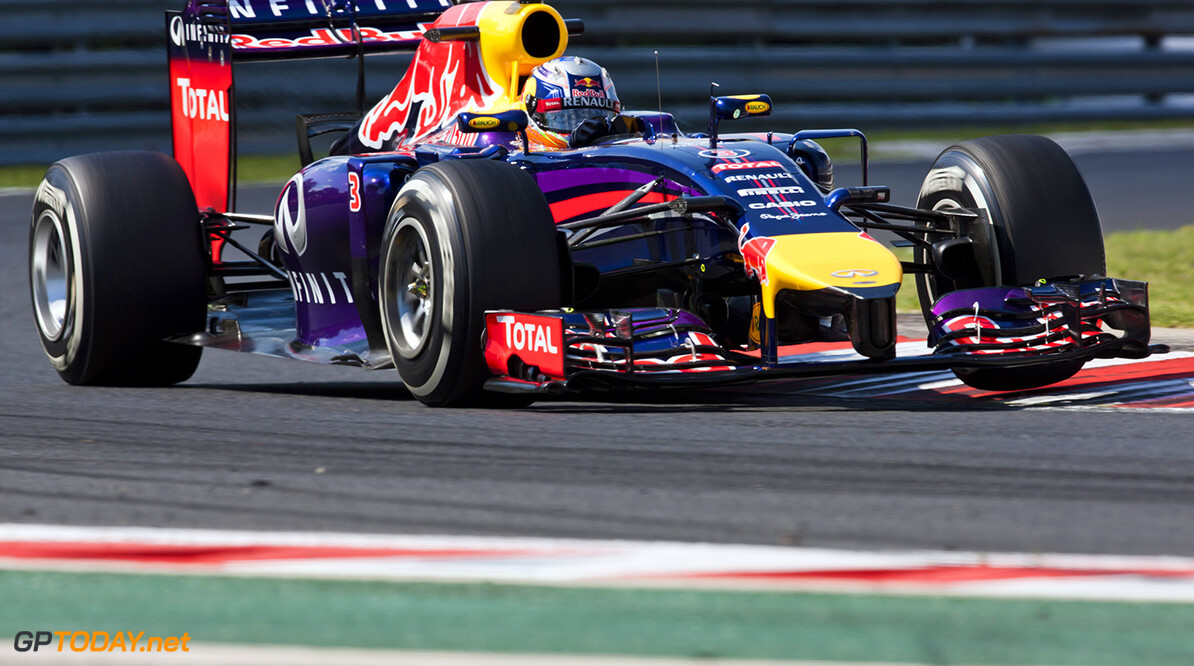 BUDAPEST, HUNGARY - JULY 25:  Daniel Ricciardo of Australia and Infiniti Red Bull Racing drives during practice ahead of the Hungarian Formula One Grand Prix at Hungaroring on July 25, 2014 in Budapest, Hungary.  (Photo by Drew Gibson/Getty Images) *** Local Caption *** Daniel Ricciardo F1 Grand Prix of Hungary - Practice Drew Gibson Budapest Hungary  Formula One Racing formula 1 Auto Racing Formula One Grand Prix