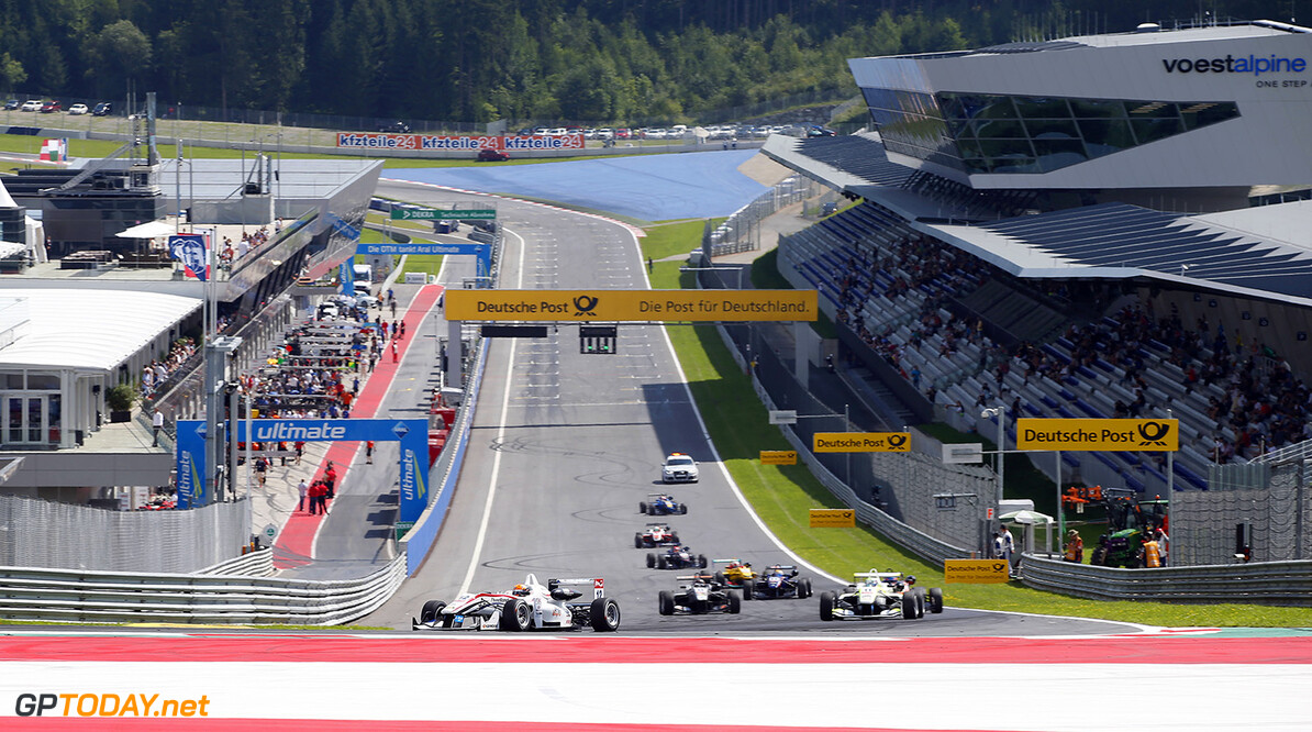 FIA Formula 3 European Championship, round 8, race 1, Red Bull R Formation lap, 12 Alexander Toril (ESP, ThreeBond with T-Sport, Dallara F312 - NBE), 11 Richard Goddard (AUS, ThreeBond with T-Sport, Dallara F312 - NBE), FIA Formula 3 European Championship, round 8, race 1, Red Bull Ring (AUT) - 1. - 3. August 2014 FIA Formula 3 European Championship, round 8, race 1, Red Bull Ring (AUT) Thomas Suer Spielberg Austria