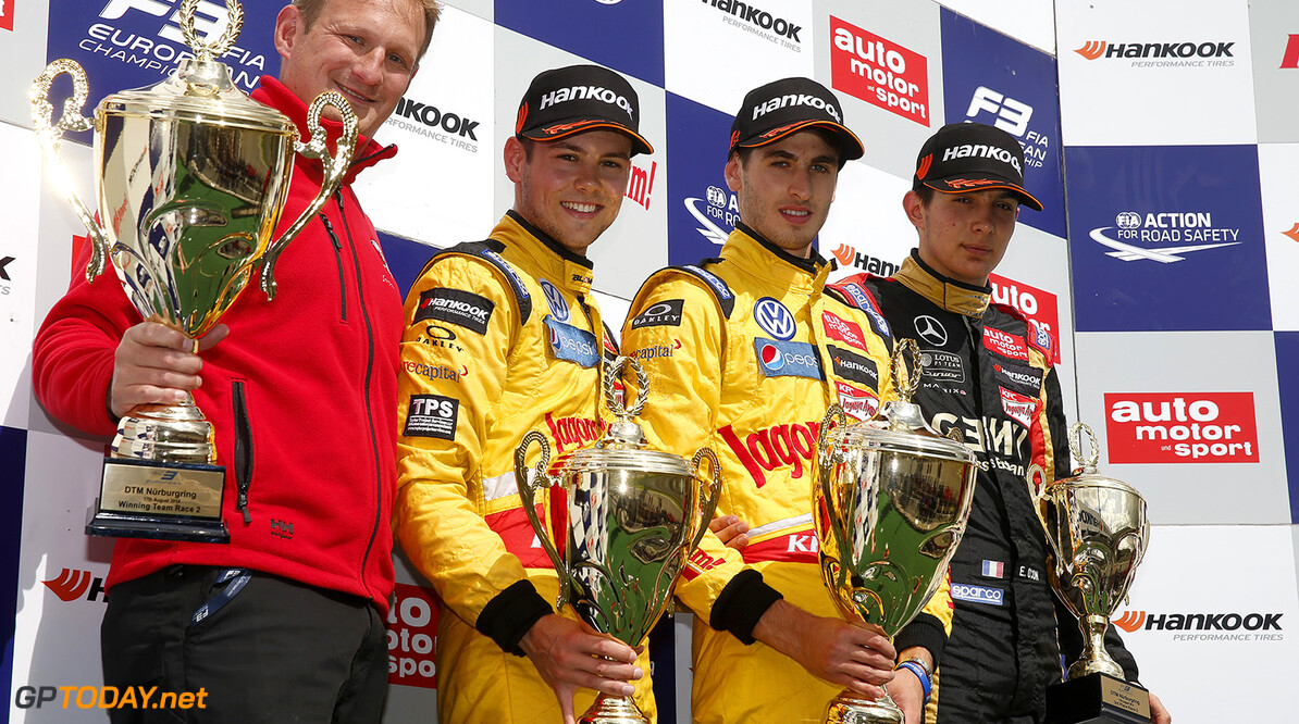 FIA Formula 3 European Championship, round 9, race 2, Nurburgri Prize giving ceremony, 31 Tom Blomqvist (GBR, Jagonya Ayam with Carlin, Dallara F312 - Volkswagen), 19 Antonio Giovinazzi (ITA, Jagonya Ayam with Carlin, Dallara F312 - Volkswagen), 2 Esteban Ocon (FRA, Prema Powerteam, Dallara F312 - Mercedes), FIA Formula 3 European Championship, round 9, race 2, Nurburgring (GER) - 15. - 17. August 2014 FIA Formula 3 European Championship, round 9, race 2, Nurburgring (GER) Thomas Suer Nurburg Germany