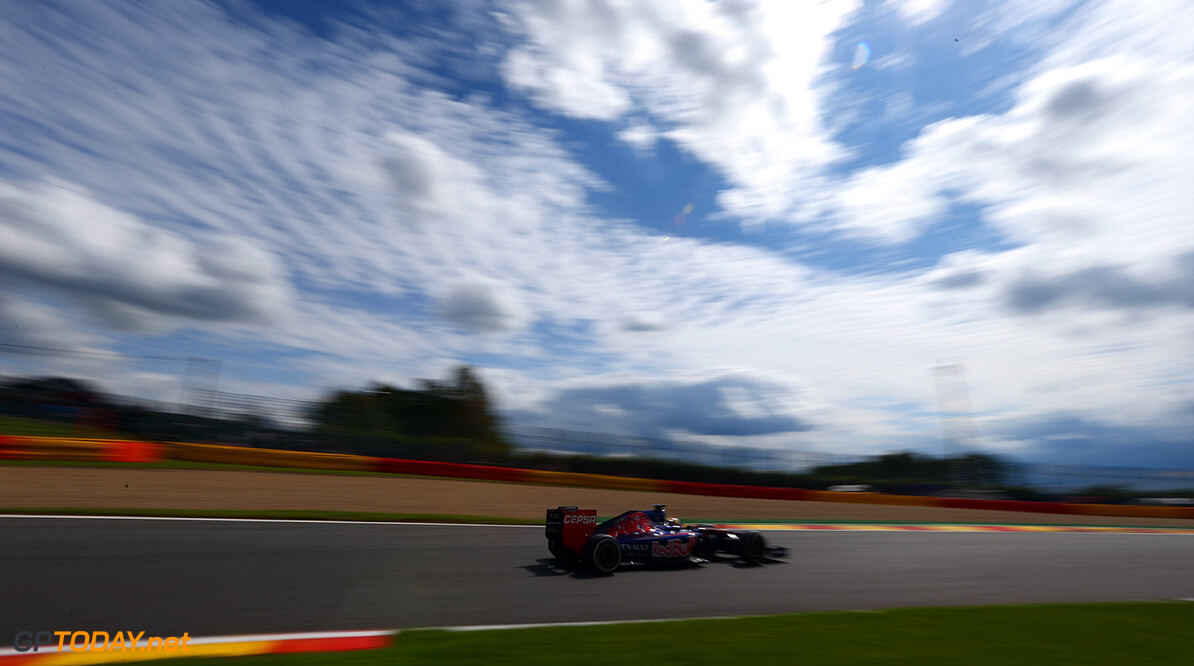 SPA, BELGIUM - AUGUST 22:  Jean-Eric Vergne of France and Scuderia Toro Rosso drives during practice ahead of the Belgian Grand Prix at Circuit de Spa-Francorchamps on August 22, 2014 in Spa, Belgium.  (Photo by Clive Mason/Getty Images) F1 Grand Prix of Belgium - Practice Clive Mason Spa Belgium  Formula One Racing formula 1 Auto Racing Formula One Grand Prix Belgium Grand Prix Belgian Formula One Grand Prix