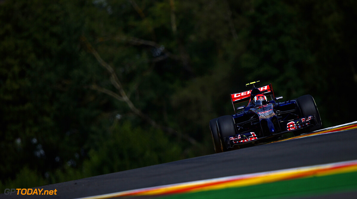 SPA, BELGIUM - AUGUST 22:  Daniil Kvyat of Russia and Scuderia Toro Rosso drives during practice ahead of the Belgian Grand Prix at Circuit de Spa-Francorchamps on August 22, 2014 in Spa, Belgium.  (Photo by Clive Mason/Getty Images) *** Local Caption *** Daniil Kvyat F1 Grand Prix of Belgium - Practice Clive Mason Spa Belgium  Formula One Racing formula 1 Auto Racing Formula One Grand Prix Belgium Grand Prix Belgian Formula One Grand Prix