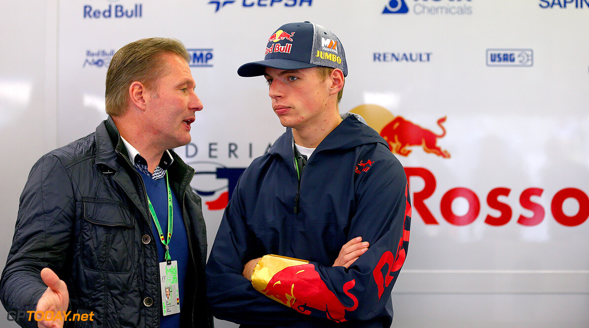 SPA, BELGIUM - AUGUST 22:  Max Verstappen of Netherlands, who will drive for Scuderia Toro Rosso next season, speaks with his father Jos Verstappen in the Scuderia Toro Rosso garage during practice ahead of the Belgian Grand Prix at Circuit de Spa-Francorchamps on August 22, 2014 in Spa, Belgium.  (Photo by Dan Istitene/Getty Images) *** Local Caption *** Max Verstappen;Jos Verstappen F1 Grand Prix of Belgium - Practice Dan Istitene Spa Belgium  Formula One Racing formula 1 Auto Racing Formula One Grand Prix Belgium Grand Prix Belgian Formula One Grand Prix