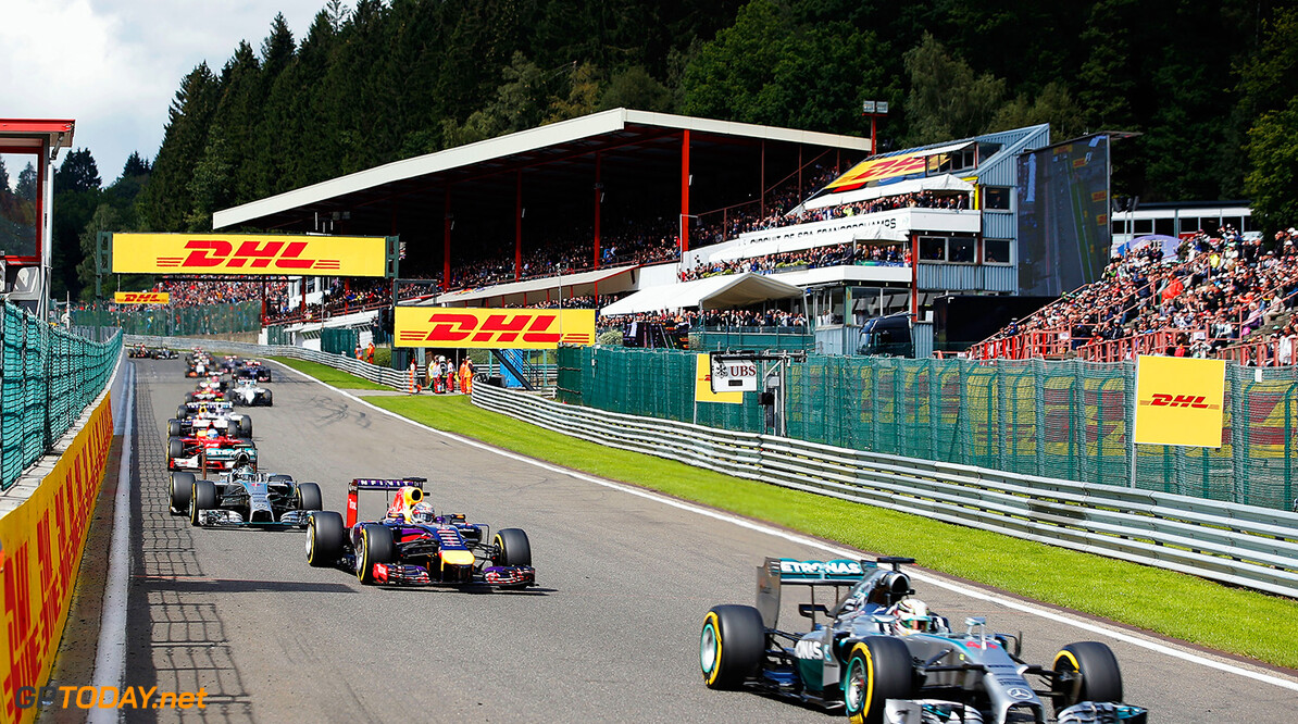 SPA, BELGIUM - AUGUST 24:  Lewis Hamilton of Great Britain and Mercedes GP leads Sebastian Vettel of Germany and Infiniti Red Bull Racing and Nico Rosberg of Germany and Mercedes GP during the Belgian Grand Prix at Circuit de Spa-Francorchamps on August 24, 2014 in Spa, Belgium.  (Photo by Dean Mouhtaropoulos/Getty Images) *** Local Caption *** Nico Rosberg;Sebastian Vettel;Lewis Hamilton F1 Grand Prix of Belgium Dean Mouhtaropoulos Spa Belgium  Formula One Racing formula 1 Auto Racing Formula One Grand Prix Belgium Grand Prix Belgian Formula One Grand Prix