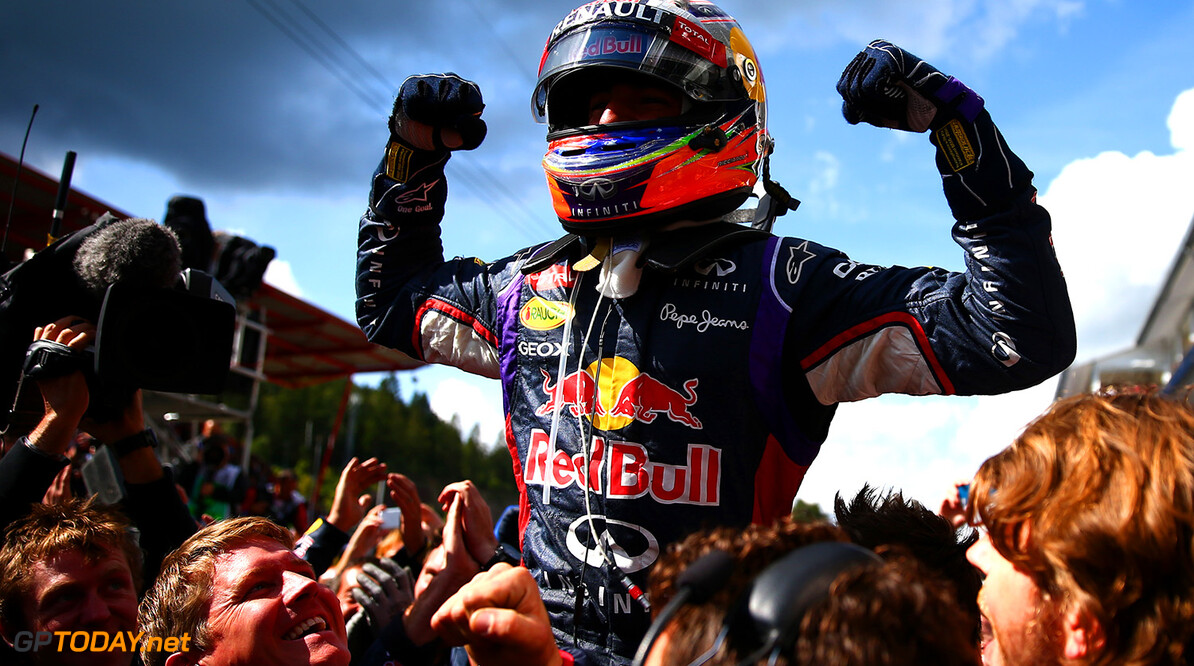 SPA, BELGIUM - AUGUST 24:  Daniel Ricciardo of Australia and Infiniti Red Bull Racing celebrates in Parc Ferme after winning the Belgian Grand Prix at Circuit de Spa-Francorchamps on August 24, 2014 in Spa, Belgium.  (Photo by Dan Istitene/Getty Images) *** Local Caption *** Daniel Ricciardo F1 Grand Prix of Belgium Dan Istitene Spa Belgium  Formula One Racing formula 1 Auto Racing Formula One Grand Prix Belgium Grand Prix Belgian Formula One Grand Prix