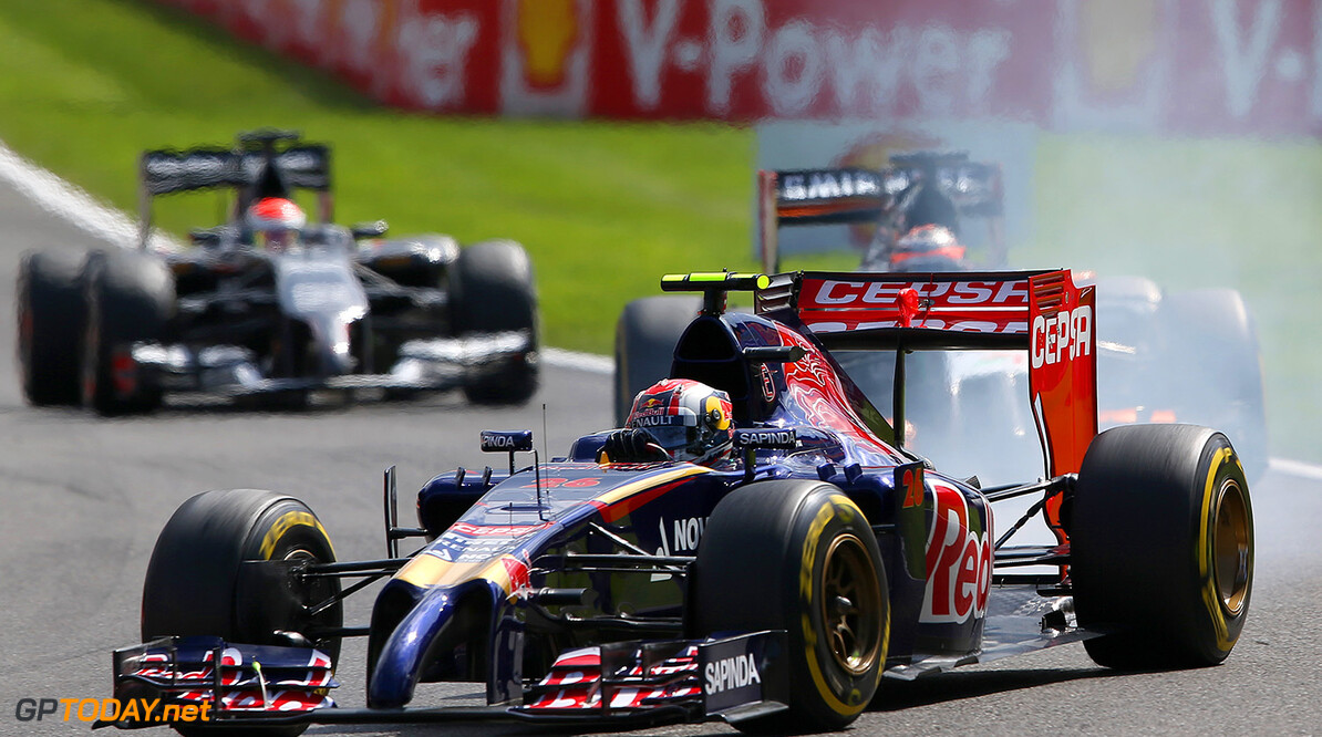 SPA, BELGIUM - AUGUST 24:  Daniil Kvyat of Russia and Scuderia Toro Rosso locks up into turn one during the Belgian Grand Prix at Circuit de Spa-Francorchamps on August 24, 2014 in Spa, Belgium.  (Photo by Mark Thompson/Getty Images) *** Local Caption *** Daniil Kvyat F1 Grand Prix of Belgium Mark Thompson Spa Belgium  Formula One Racing formula 1 Auto Racing Formula One Grand Prix Belgium Grand Prix Belgian Formula One Grand Prix