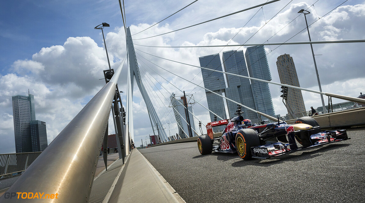 Max Verstappen races over the Erasmus bridge in Rotterdam, The Netherlands on August 29th, 2014. // Jarno Schurgers/Red Bull Content Pool // P-20140829-00024 // Usage for editorial use only // Please go to www.redbullcontentpool.com for further information. //  Max Verstappen - Action  Rotterdam Netherlands  P-20140829-00024