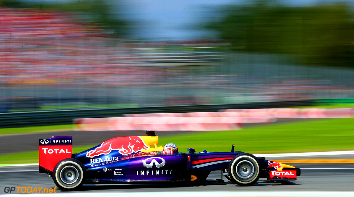 MONZA, ITALY - SEPTEMBER 07:  Sebastian Vettel of Germany and Infiniti Red Bull Racing drives during the F1 Grand Prix of Italy at Autodromo di Monza on September 7, 2014 in Monza, Italy.  (Photo by Mark Thompson/Getty Images) *** Local Caption *** Sebastian Vettel F1 Grand Prix of Italy Mark Thompson Monza Italy