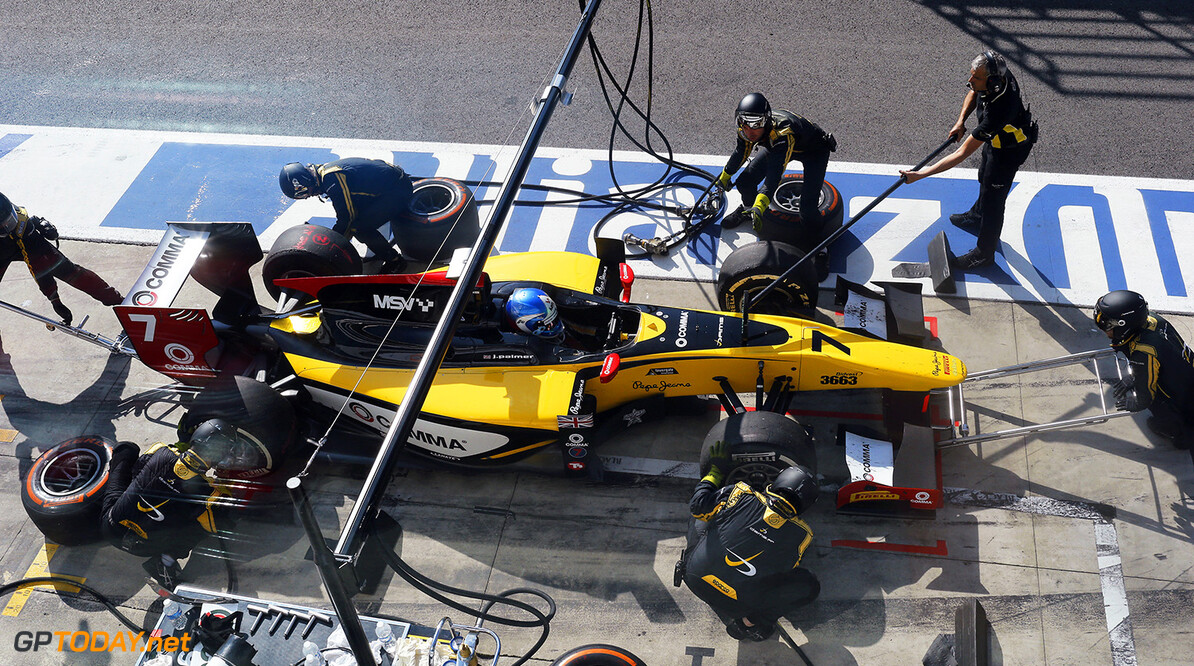 2014 GP2 Series. Round 9.   Autodromo di Monza, Monza, Italy. Saturday 6 September 2014. Jolyon Palmer (GBR, DAMS), makes a pit stop Photo: Steven Tee/GP2 Series Media Service. ref: Digital Image _L4R5342  Sam Bloxham    Race One 1 Feature