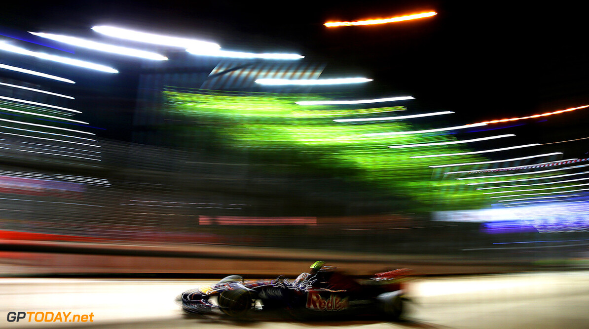 SINGAPORE - SEPTEMBER 19:  Daniil Kvyat of Russia and Scuderia Toro Rosso drives during practice ahead of the Singapore Formula One Grand Prix at Marina Bay Street Circuit on September 19, 2014 in Singapore, Singapore.  (Photo by Mark Thompson/Getty Images) *** Local Caption *** Daniil Kvyat F1 Grand Prix of Singapore - Practice Mark Thompson Singapore Singapore  Formula One Racing formula 1 Auto Racing Formula One Grand Prix Marina Bay Street Circuit Singapore Grand Prix