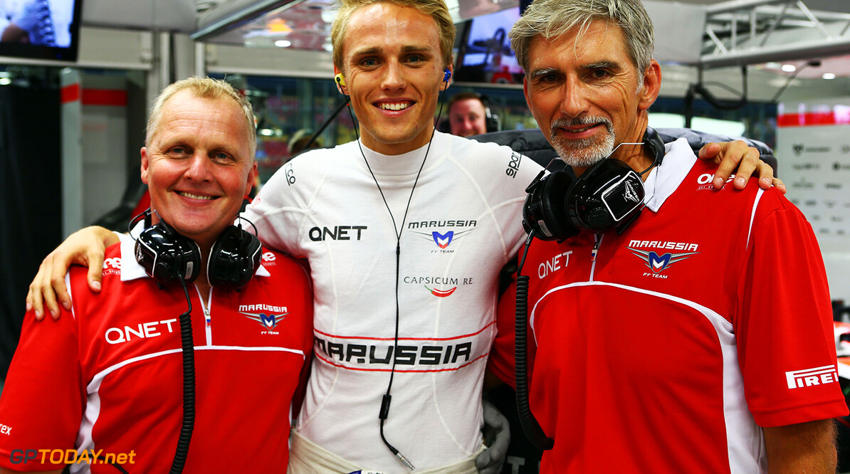 Formula One World Championship (L to R): Johnny Herbert (GBR) Sky Sports F1 Presenter with Max Chilton (GBR) Marussia F1 Team and Damon Hill (GBR) Sky Sports Presenter.