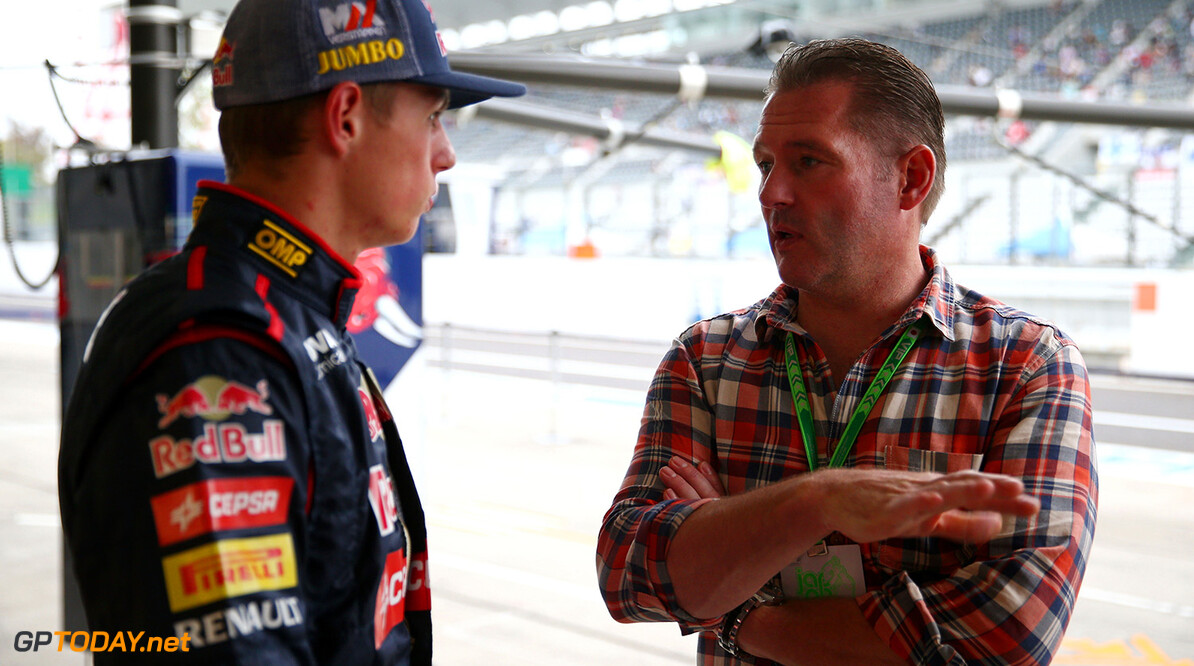 SUZUKA, JAPAN - OCTOBER 02:  Max Verstappen (L) of Netherlands and Scuderia Toro Rosso speaks with his father Jos Verstappen (R) ahead of the Japanese Formula One Grand Prix at Suzuka Circuit on October 2, 2014 in Suzuka, Japan.  (Photo by Mark Thompson/Getty Images) *** Local Caption *** Max Verstappen;Jos Verstappen F1 Grand Prix of Japan - Previews Mark Thompson Suzuka Japan