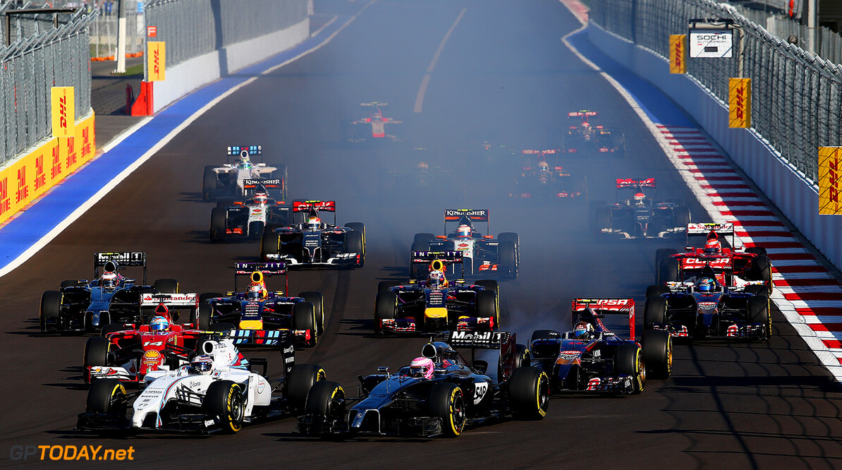 SOCHI, RUSSIA - OCTOBER 12:  Drivers approach turn two during the Russian Formula One Grand Prix at Sochi Autodrom on October 12, 2014 in Sochi, Russia.  (Photo by Mark Thompson/Getty Images) F1 Grand Prix of Russia Mark Thompson Sochi Russia  formula one racing
