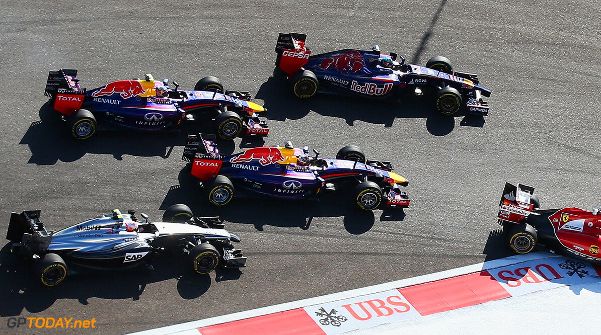 SOCHI, RUSSIA - OCTOBER 12:  Kevin Magnussen of Denmark and McLaren, Daniel Ricciardo of Australia and Infiniti Red Bull Racing, Sebastian Vettel of Germany and Infiniti Red Bull Racing and Jean-Eric Vergne of France and Scuderia Toro Rosso drive during the Russian Formula One Grand Prix at Sochi Autodrom on October 12, 2014 in Sochi, Russia.  (Photo by Paul Gilham/Getty Images) *** Local Caption *** Jean-Eric Vergne;Sebastian Vettel;Daniel Ricciardo;Kevin Magnussen F1 Grand Prix of Russia Paul Gilham Sochi Russia  formula one racing