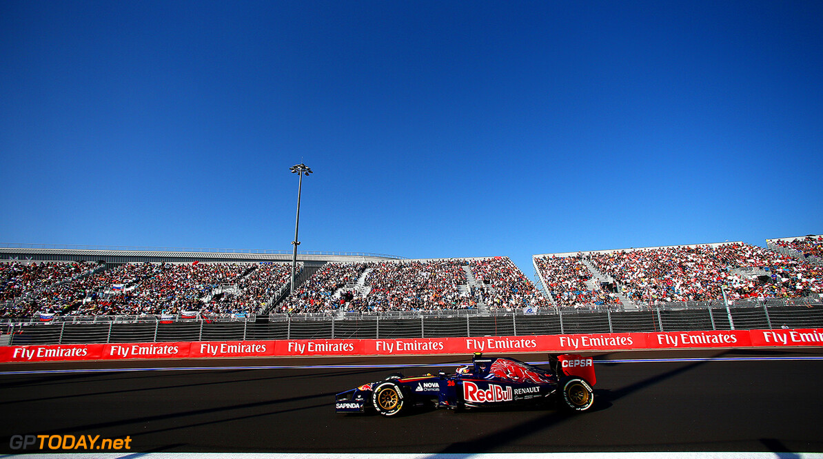 SOCHI, RUSSIA - OCTOBER 12:  Daniil Kvyat of Russia and Scuderia Toro Rosso drives during the Russian Formula One Grand Prix at Sochi Autodrom on October 12, 2014 in Sochi, Russia.  (Photo by Mark Thompson/Getty Images) *** Local Caption *** Daniil Kvyat F1 Grand Prix of Russia Mark Thompson Sochi Russia  formula one racing