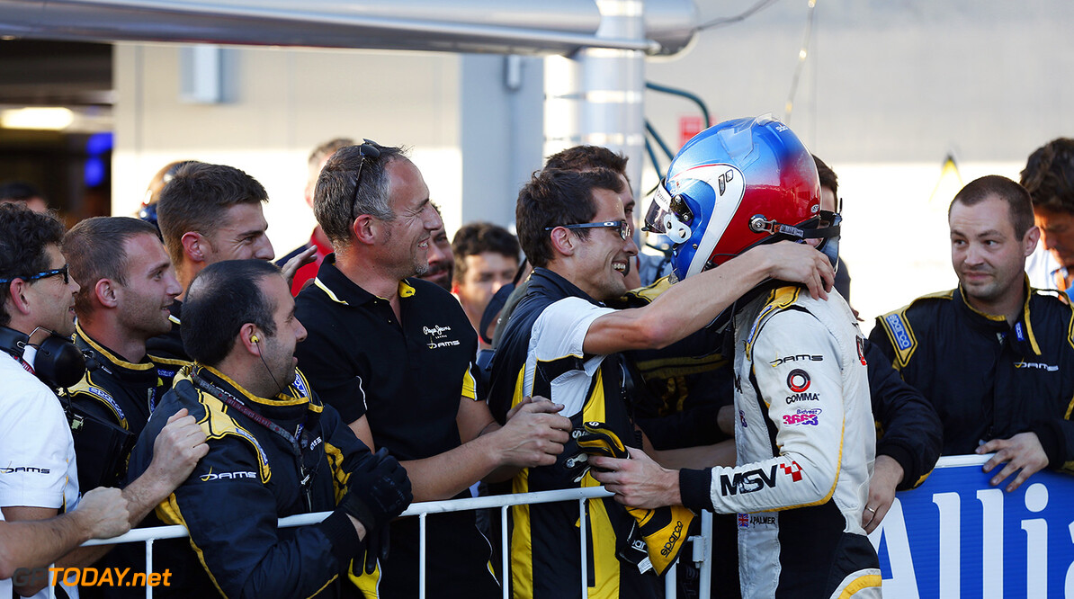 2014 GP2 Series. Round 10.   Sochi Autodrom, Sochi, Russia.  Saturday 11 October 2014. Jolyon Palmer (GBR, DAMS), celebrates win with his team Photo: Alastair Staley/GP2 Series Media Service. ref: Digital Image _79P5478  Alastair Staley    Race One 1 Feature