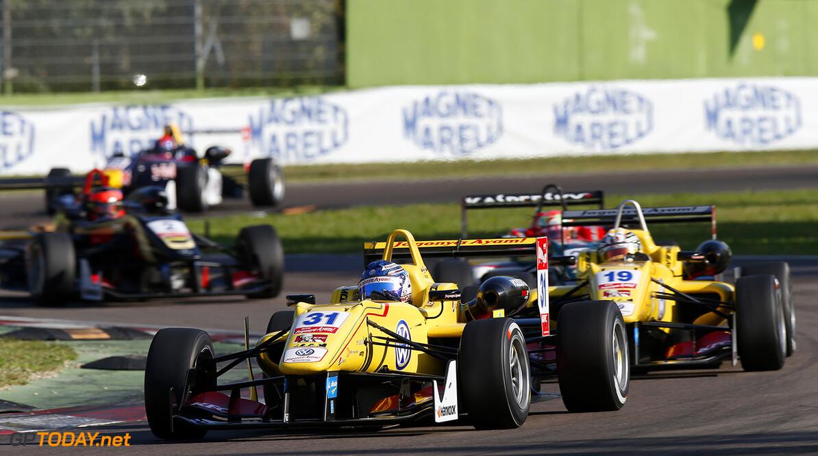 FIA Formula 3 European Championship, round 10, race 2, Imola 31 Tom Blomqvist (GBR, Jagonya Ayam with Carlin, Dallara F312 - Volkswagen), 19 Antonio Giovinazzi (ITA, Jagonya Ayam with Carlin, Dallara F312 - Volkswagen), 25 Antonio Fuoco (ITA, Prema Powerteam, Dallara F312 - Mercedes), FIA Formula 3 European Championship, round 10, race 2, Imola (ITA) - 10. - 12. October 2014 FIA Formula 3 European Championship, round 10, race 2, Imola (ITA) Thomas Suer Imola Italy