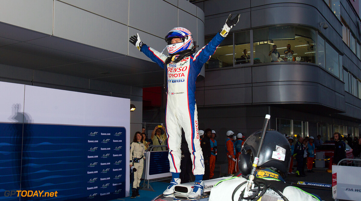 Anthony Davidson (GBR) / Nicolas Lapierre (FRA) / Sebastien Buemi (CHE) / drivers of car #8 LMP1 Toyota Racing (JPN) Toyota TS 040 - Hybrid celebrate winning the race at Fuji Speedway - Shizuoka Prefecture - Japan Anthony Davidson (GBR) / Nicolas Lapierre (FRA) / Sebastien Buemi (CHE) / drivers of car #8 LMP1 Toyota Racing (JPN) Toyota TS 040 - Hybrid celebrate winning the race at Fuji Speedway - Shizuoka Prefecture - Japan Richard Washbrooke Shizuoka Prefecture Japan  6 hours Adrenal Media Fia Fuji Fuji Speedway Japan Race WEC motorsport