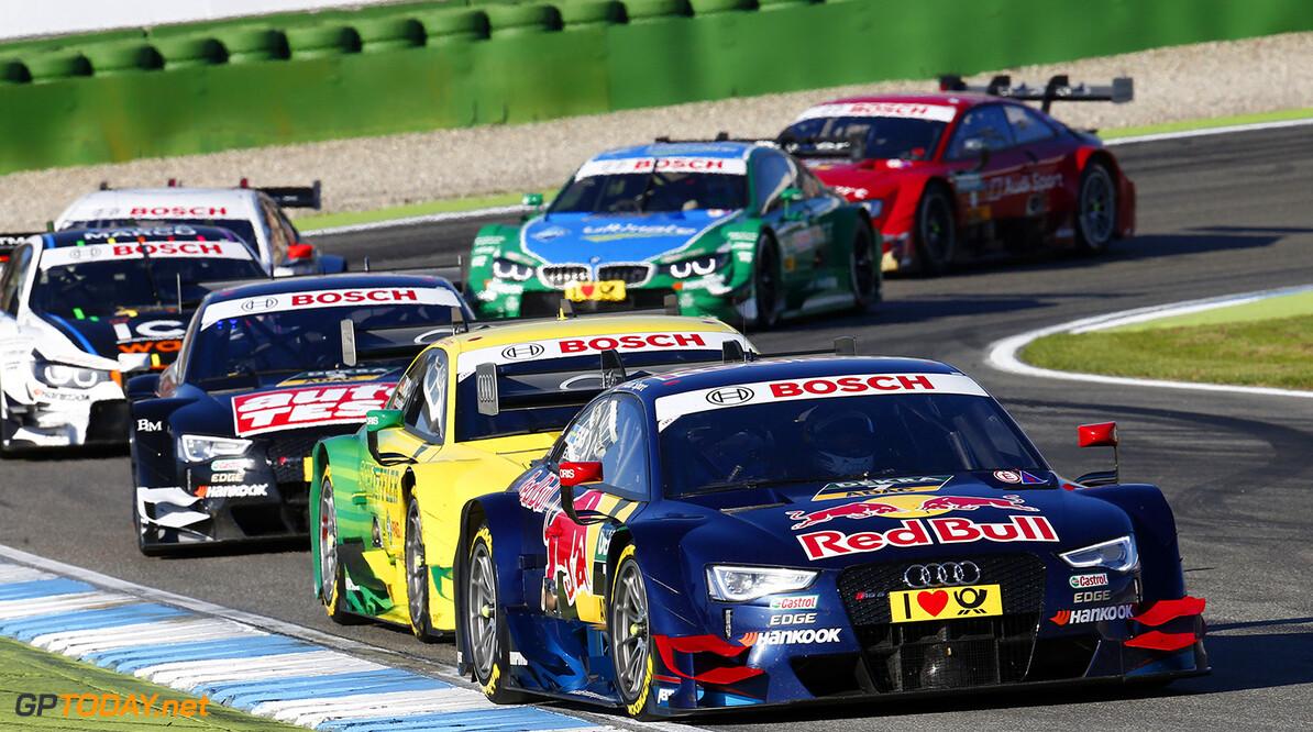 #7 Mattias Ekstrom (S, Audi Sport Team Abt Sportsline, Audi RS 5 DTM), #1 Mike Rockenfeller (GER, Audi Sport Team Phoenix, Audi RS 5 DTM), #2 Timo Scheider (GER, Audi Sport Team Phoenix, Audi RS 5 DTM), #23 Marco Wittmann (D, BMW Team RMG, BMW M4 DTM), #3 Augusto Farfus (BR), BMW Team RBM, BMW M4 DTM)