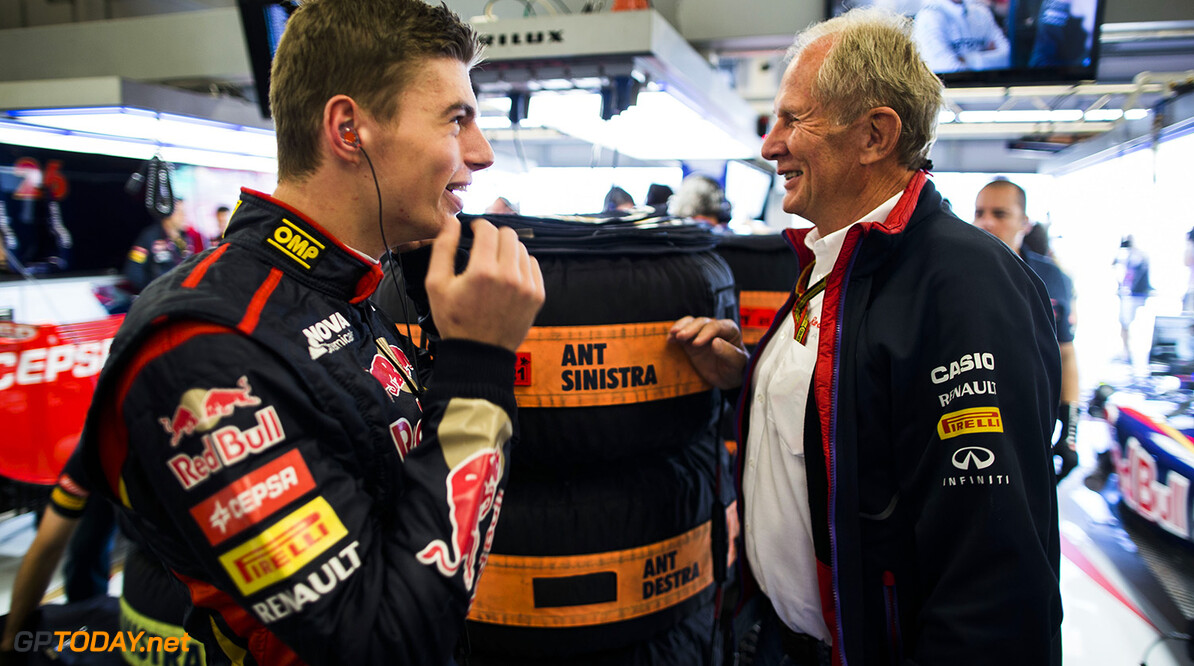 511532489PF011_F1_Grand_Pri AUSTIN, TX - OCTOBER 31:  Max Verstappen of Toro Rosso and The Netherlands chats with Helmut Marko of Red Bull and Austria during practice ahead of the United States Formula One Grand Prix at Circuit of The Americas on October 31, 2014 in Austin, United States.  (Photo by Peter Fox/Getty Images,) *** Local Caption *** Max Verstappen F1 Grand Prix of USA - Practice Peter Fox Austin United States  forumla one racing