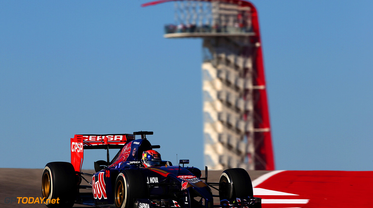 AUSTIN, TX - OCTOBER 31:  Max Verstappen of the Netherlands and Scuderia Toro Rosso drives during practice ahead of the United States Formula One Grand Prix at Circuit of The Americas on October 31, 2014 in Austin, United States.  (Photo by Clive Mason/Getty Images) *** Local Caption *** Max Verstappen F1 Grand Prix of USA - Practice Clive Mason Austin United States  forumla one racing