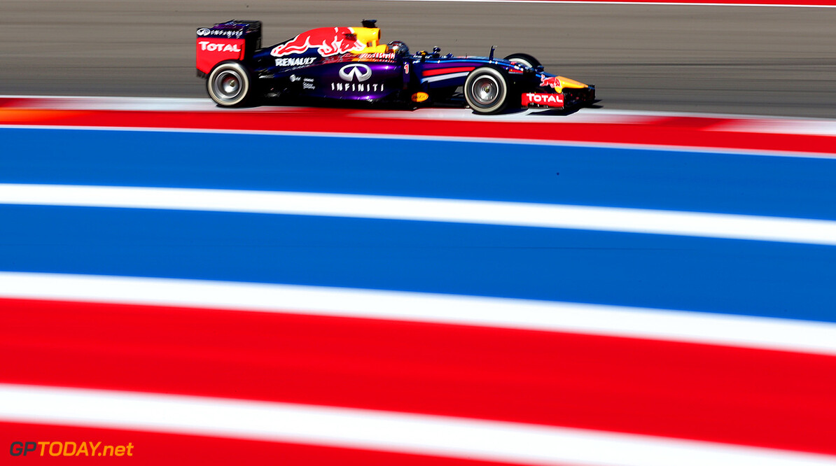 AUSTIN, TX - OCTOBER 31:  Sebastian Vettel of Germany and Infiniti Red Bull Racing drives during practice ahead of the United States Formula One Grand Prix at Circuit of The Americas on October 31, 2014 in Austin, United States.  (Photo by Mark Thompson/Getty Images) *** Local Caption *** Sebastian Vettel F1 Grand Prix of USA - Practice Mark Thompson Austin United States  forumla one racing
