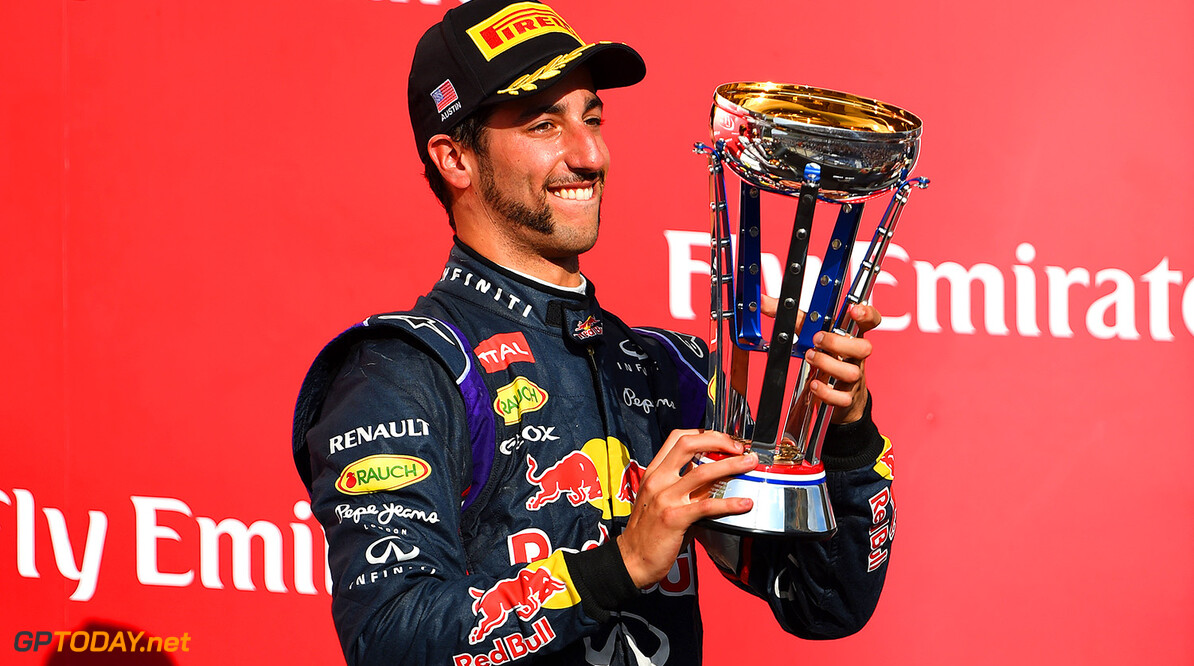 AUSTIN, TX - NOVEMBER 02:  Daniel Ricciardo of Australia and Infiniti Red Bull Racing celebrates on the podium after the United States Formula One Grand Prix at Circuit of The Americas on November 2, 2014 in Austin, United States.  (Photo by Paul Gilham/Getty Images) *** Local Caption *** Daniel Ricciardo F1 Grand Prix of USA Paul Gilham Austin United States  forumla one racing