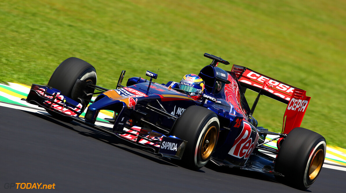 SAO PAULO, BRAZIL - NOVEMBER 07:  Jean-Eric Vergne of France and Scuderia Toro Rosso drives during practice ahead of the Brazilian Formula One Grand Prix at Autodromo Jose Carlos Pace on November 7, 2014 in Sao Paulo, Brazil.  (Photo by Mark Thompson/Getty Images) *** Local Caption *** Jean-Eric Vergne F1 Grand Prix of Brazil - Practice Mark Thompson Sao Paulo Brazil  forumla one racing Interlagos