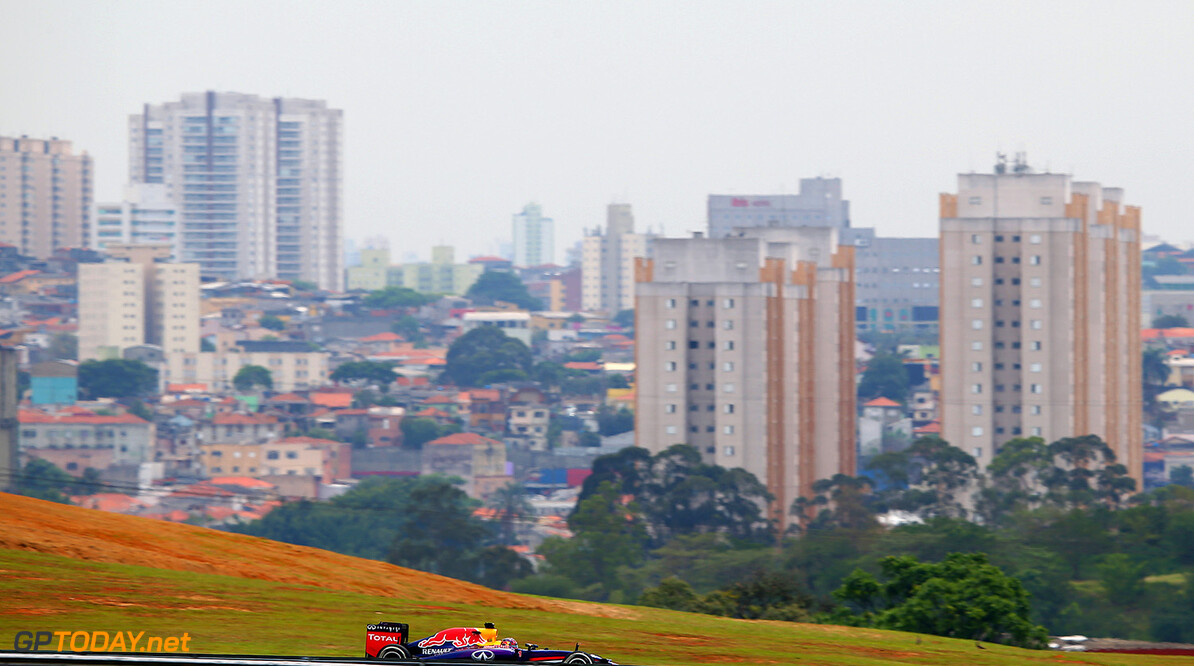 SAO PAULO, BRAZIL - NOVEMBER 07:  Sebastian Vettel of Germany and Infiniti Red Bull Racing drives during practice ahead of the Brazilian Formula One Grand Prix at Autodromo Jose Carlos Pace on November 7, 2014 in Sao Paulo, Brazil.  (Photo by Mark Thompson/Getty Images) *** Local Caption *** Sebastian Vettel F1 Grand Prix of Brazil - Practice Mark Thompson Sao Paulo Brazil  forumla one racing Interlagos