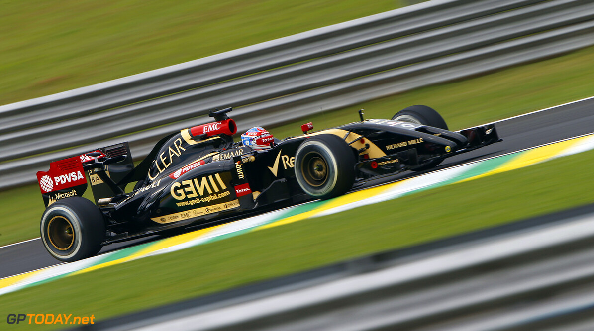 GROSJEAN Romain (Fra) Lotus E Renault E22 action   during the 2014 Formula One World Championship, Brazil Grand Prix from November 6th to 9th 2014 in Sao Paulo, Brazil. Photo Frederic Le Floch / DPPI. F1 - BRAZIL GRAND PRIX 2014 FREDERIC LE FLOC H Sao Paulo Bresil  Auto Car BRESIL f1 formula 1 Formula One FORMULE 1 FORMULE UN Grand Prix MONOPLACE Motorsport november NOVEMBRE Race UNIPLACE UNITED BRESILIEN BRAZILIAN WORLD CHAMPIONSHIP